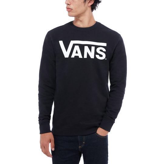 vans classic crew fleece black white