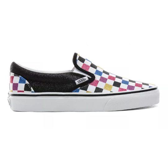 vans slip on glitter checkered black white