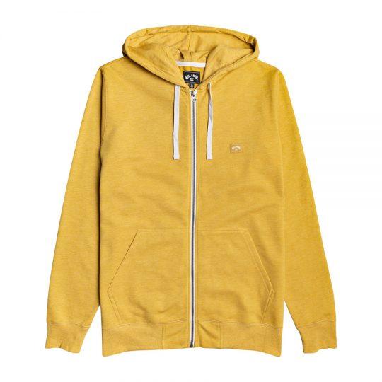 billabong all day zip hood pulóver mustard
