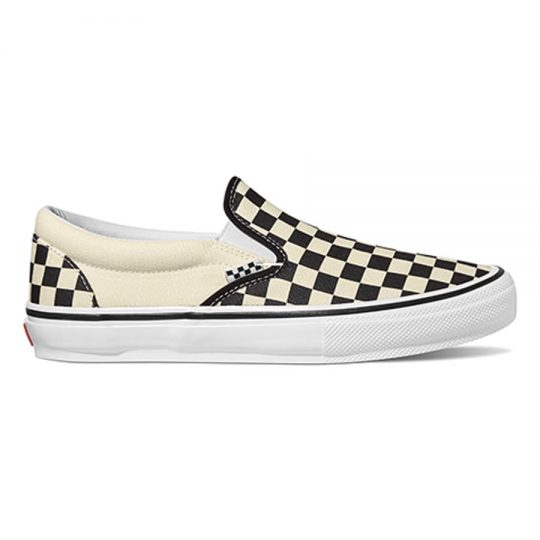 vans skate slip-on cipő checkerboard black off VN0A5FCAAUH1