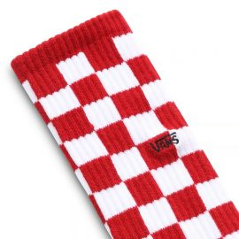 vans checkerboard II crew zokni red white